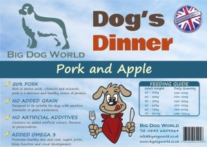 Dogs Dinner - Pork, Sweet Potato and Apple 12Kg
