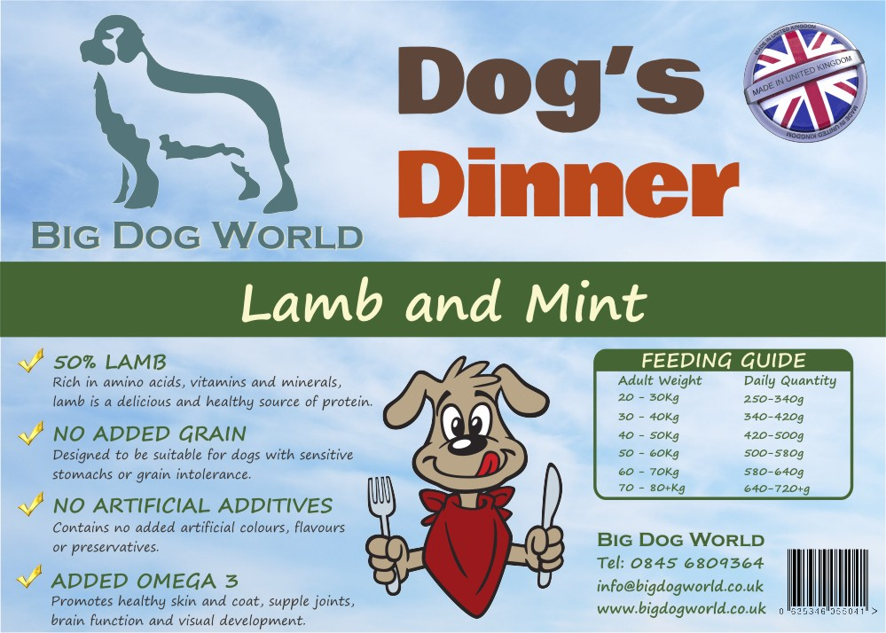 Dogs Dinner Lamb Sweet Potato And Mint 12kg Big Dog World